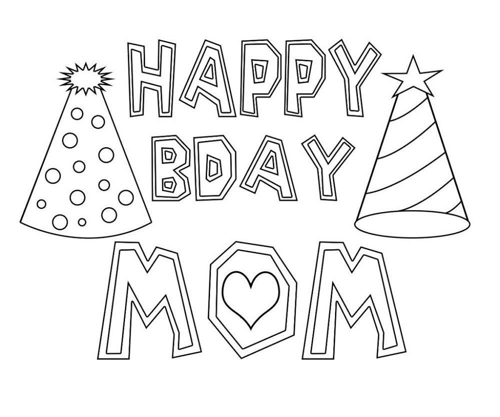 Happy Birthday Mom Coloring Page To Print