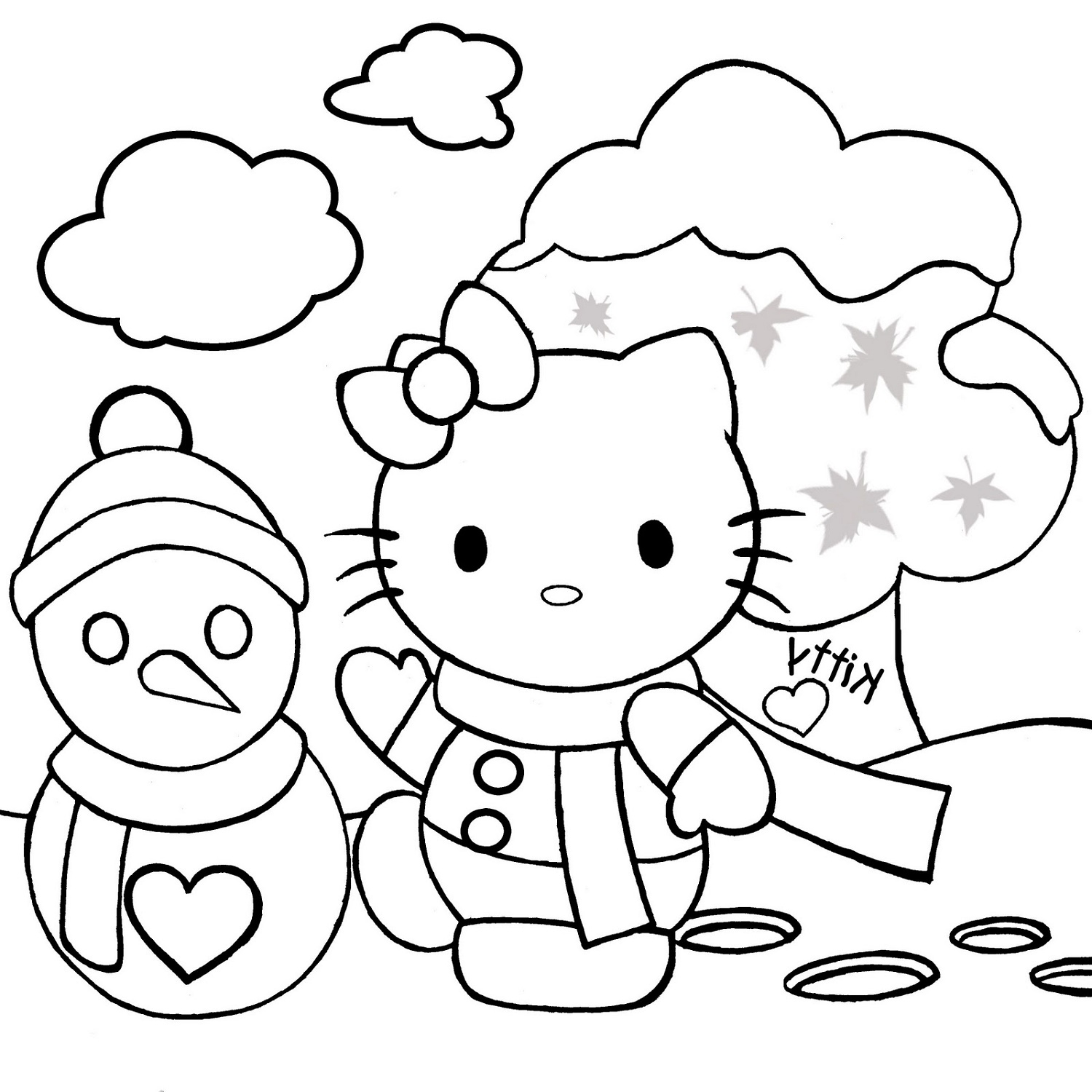 Hello Kitty Christmas Coloring Pages And Snowman
