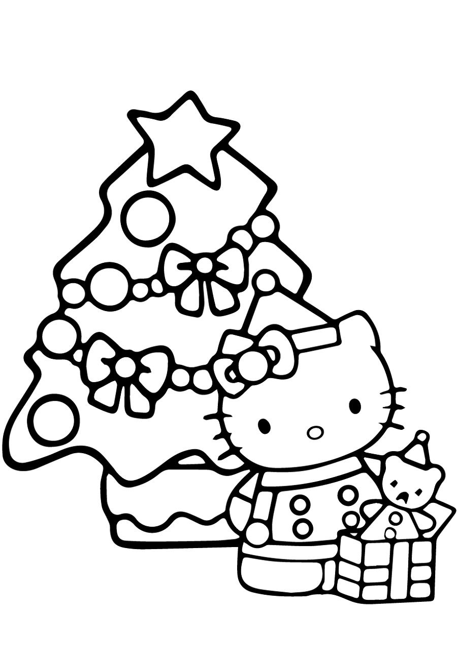 Hello Kitty Christmas Coloring Pages Christmas Tree