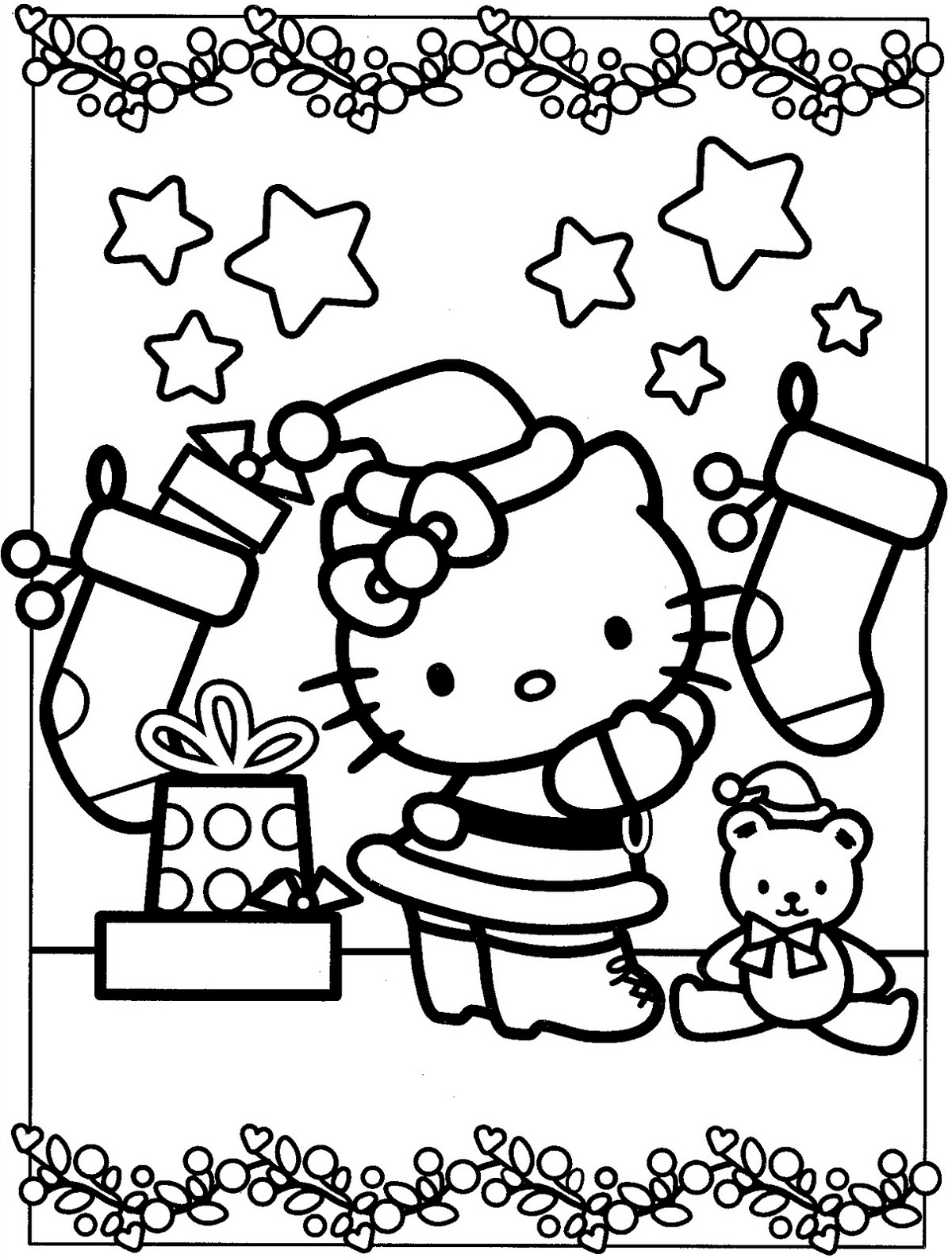 Hello Kitty Christmas Coloring Pages Free
