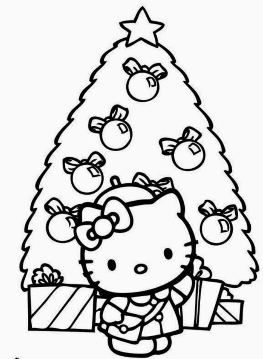 Hello Kitty Christmas Coloring Pages Printable