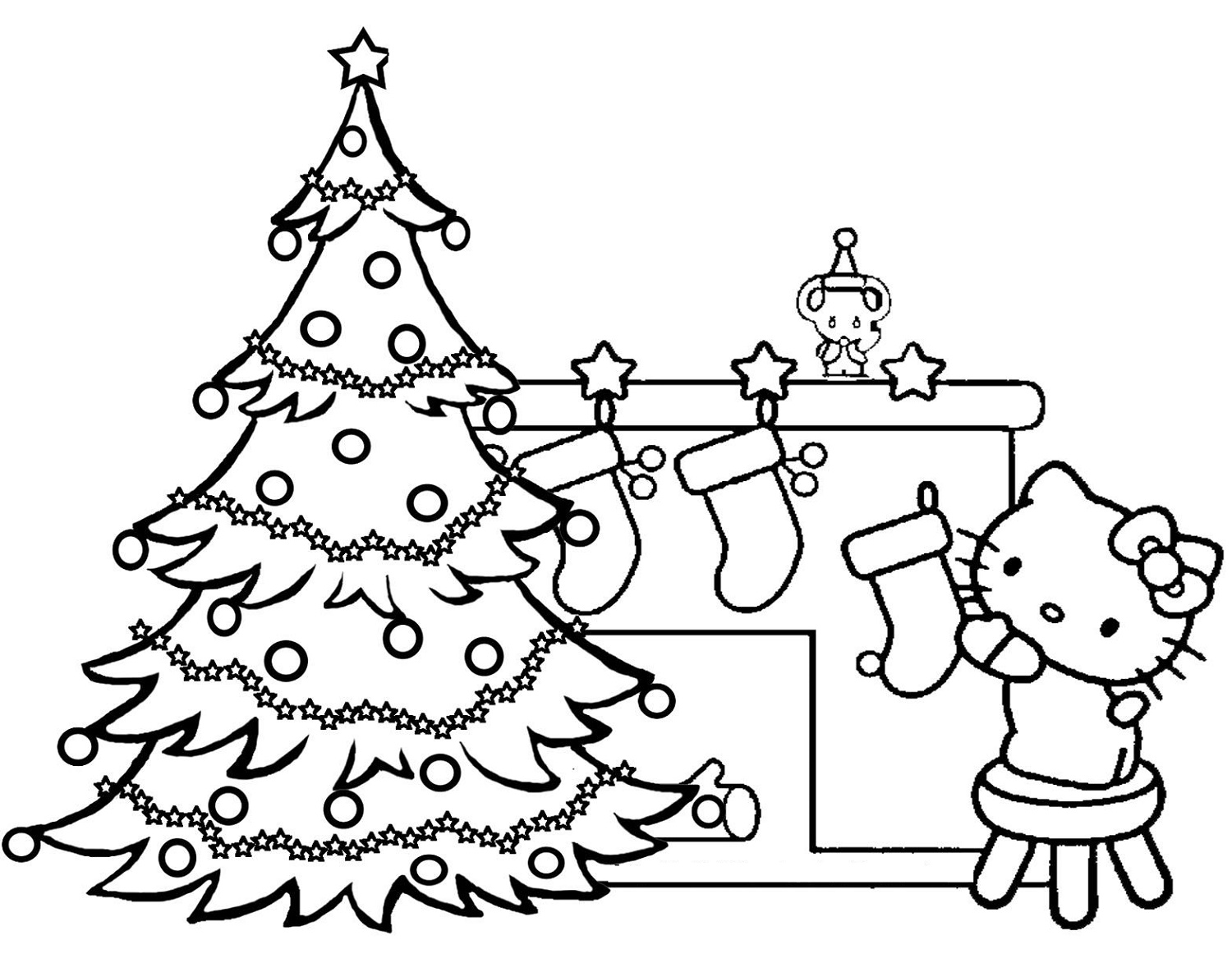 Hello Kitty Christmas Coloring Pages To Print