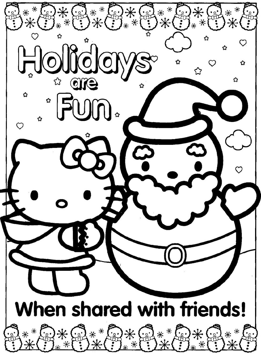 Hello Kitty Christmas Coloring Pages With Santa