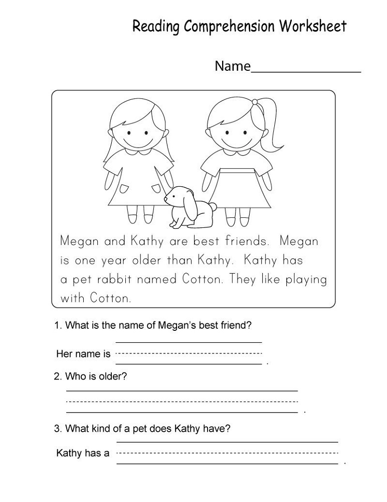 Kindergarten Learning Worksheets Reading Comprehension