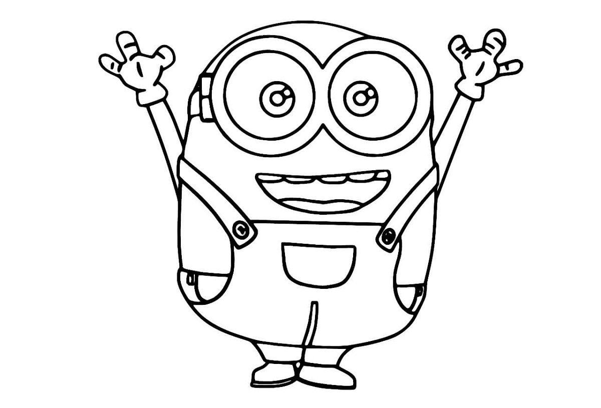 Minion Coloring Pages Bob Happy
