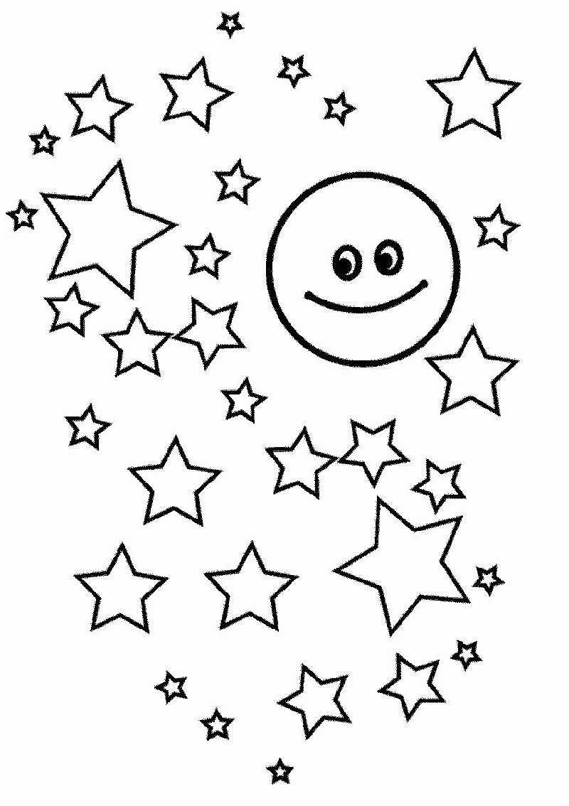 Moon And Stars Coloring Pages For Kids