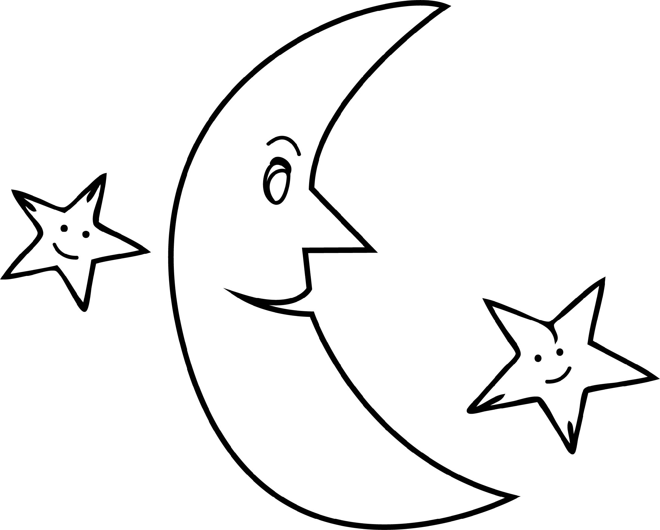 Moon And Stars Coloring Pages Free