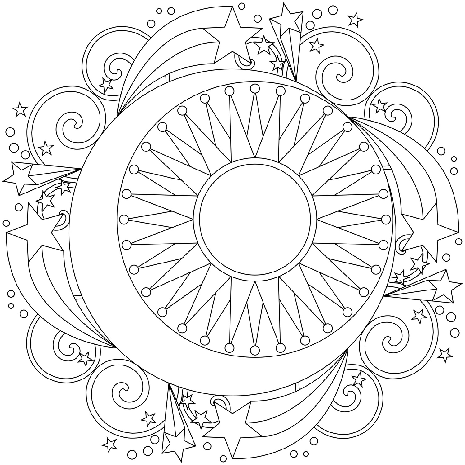 Moon And Stars Coloring Pages Mandala
