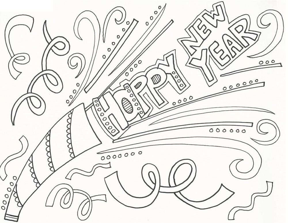 New Years Coloring Pages Doodle