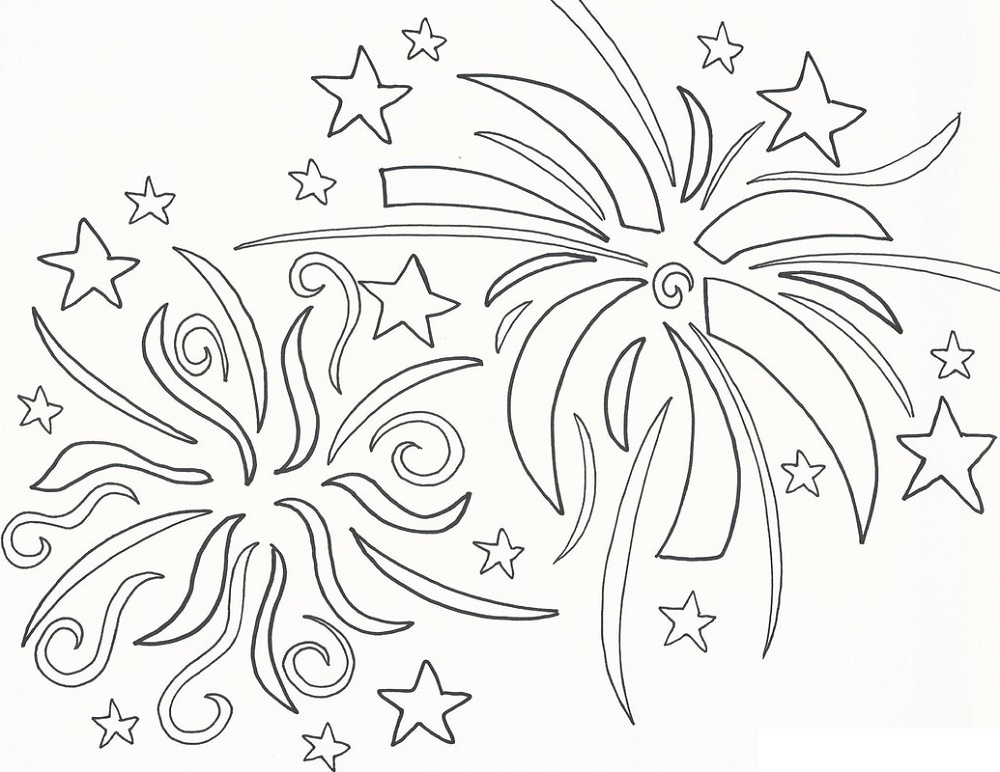 New Years Coloring Pages Fireworks