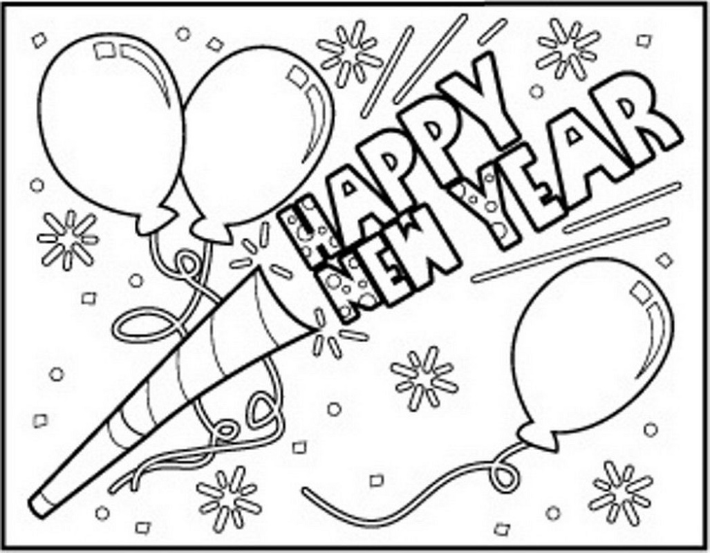 New Years Coloring Pages Happy