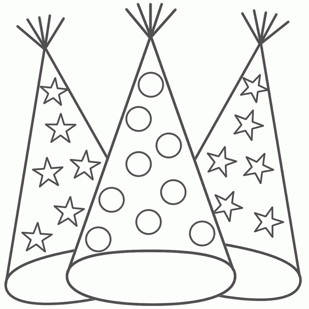 New Years Coloring Pages Hat