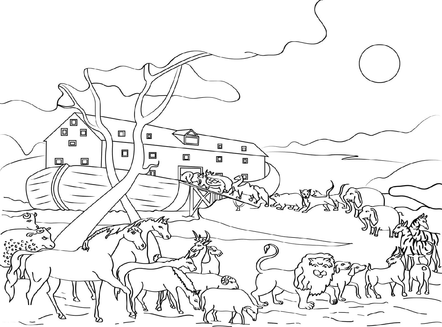 Noah's Ark Coloring Page Animals Loading