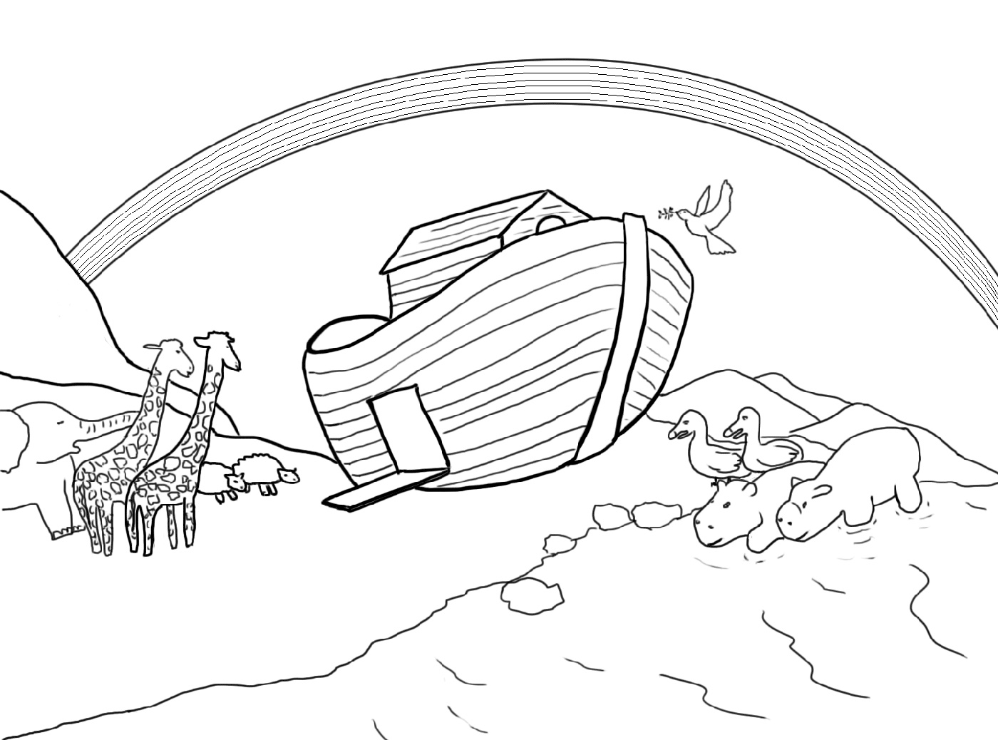 Noah's Ark Coloring Page Bible