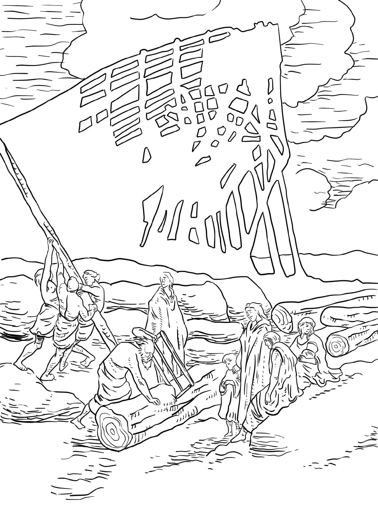 Noah's Ark Coloring Page Building