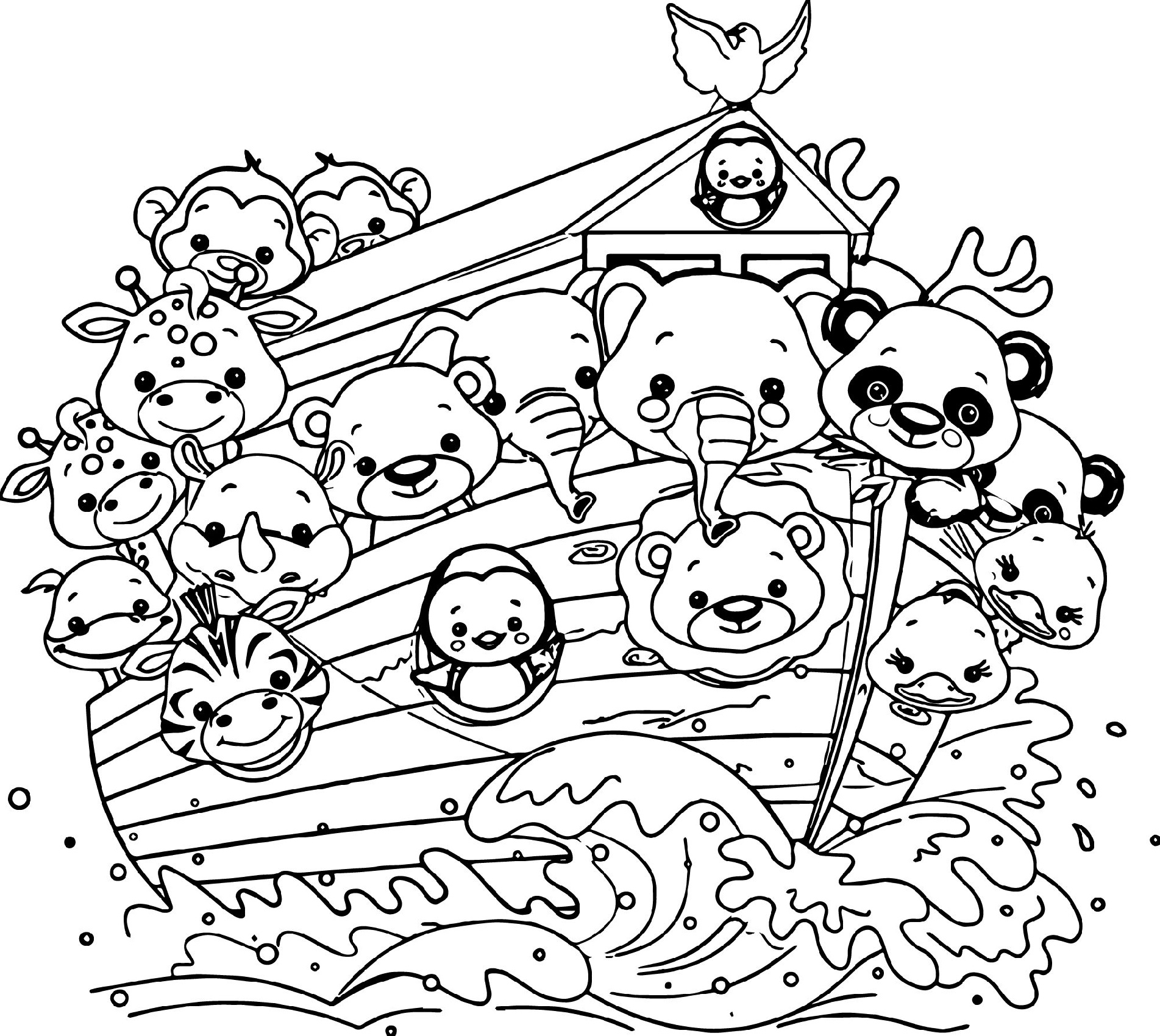 Noah's Ark Coloring Page Cartoon
