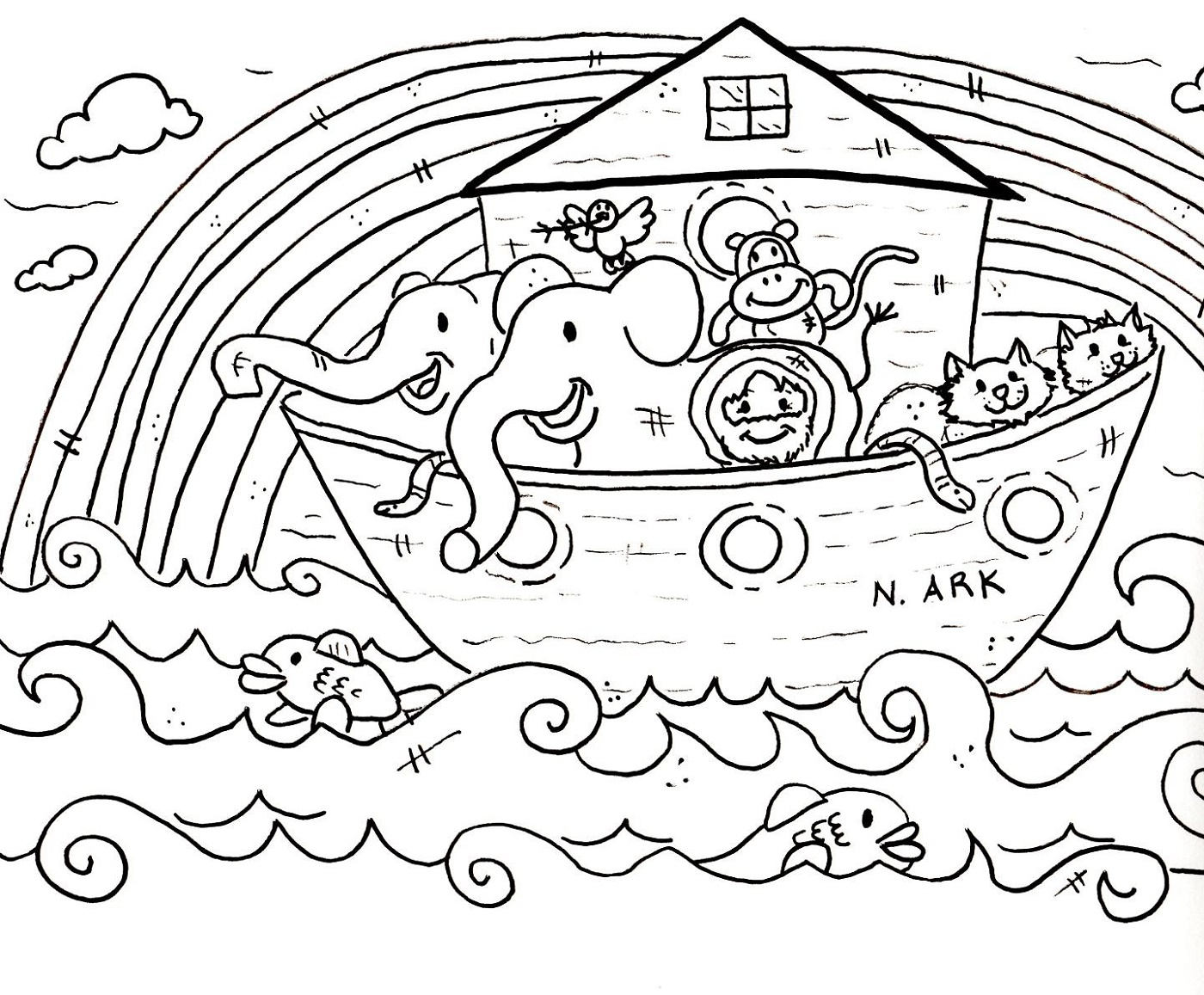 Noah's Ark Coloring Page For Kids