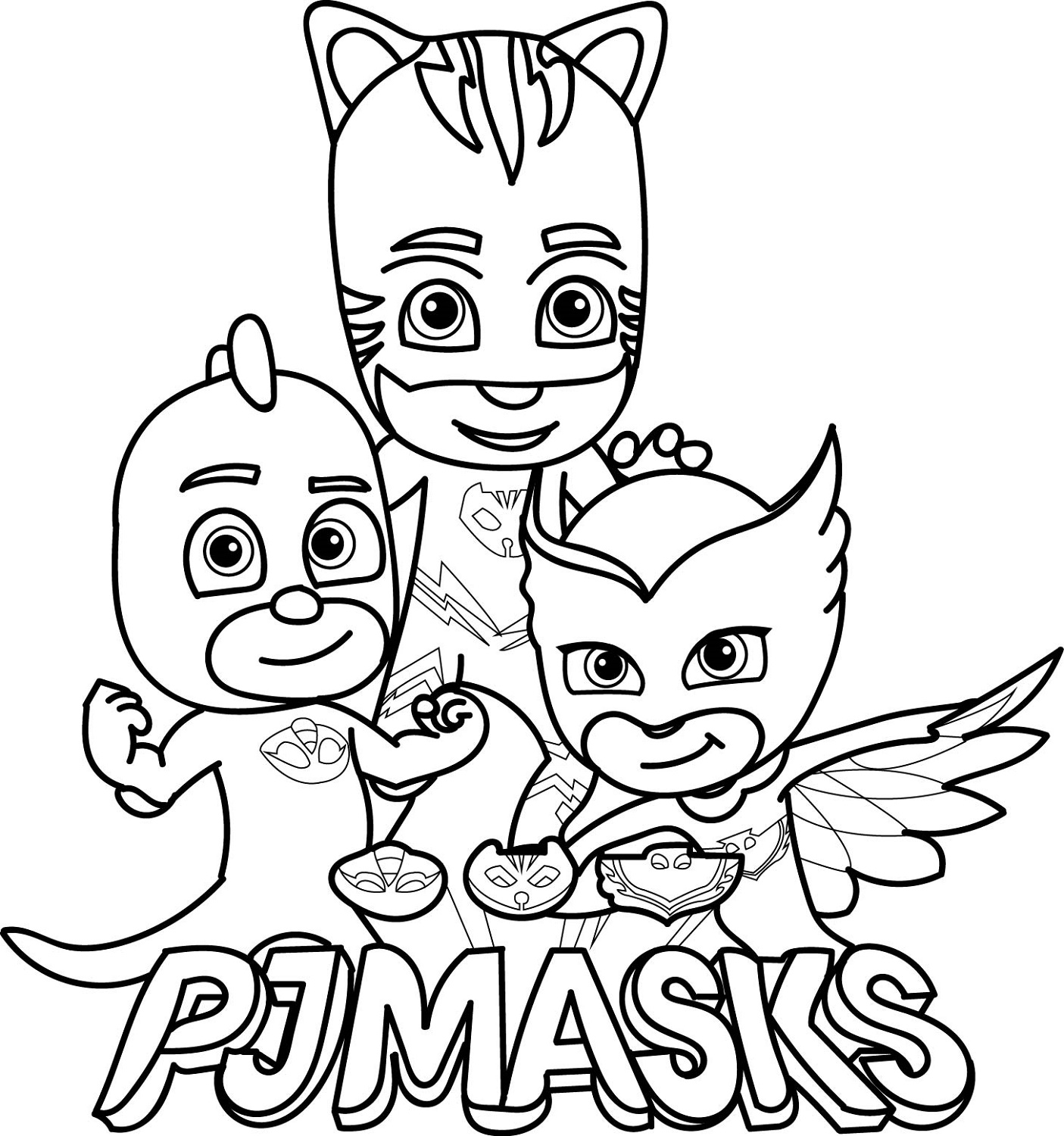 PJ Mask Coloring Pages Cartoon