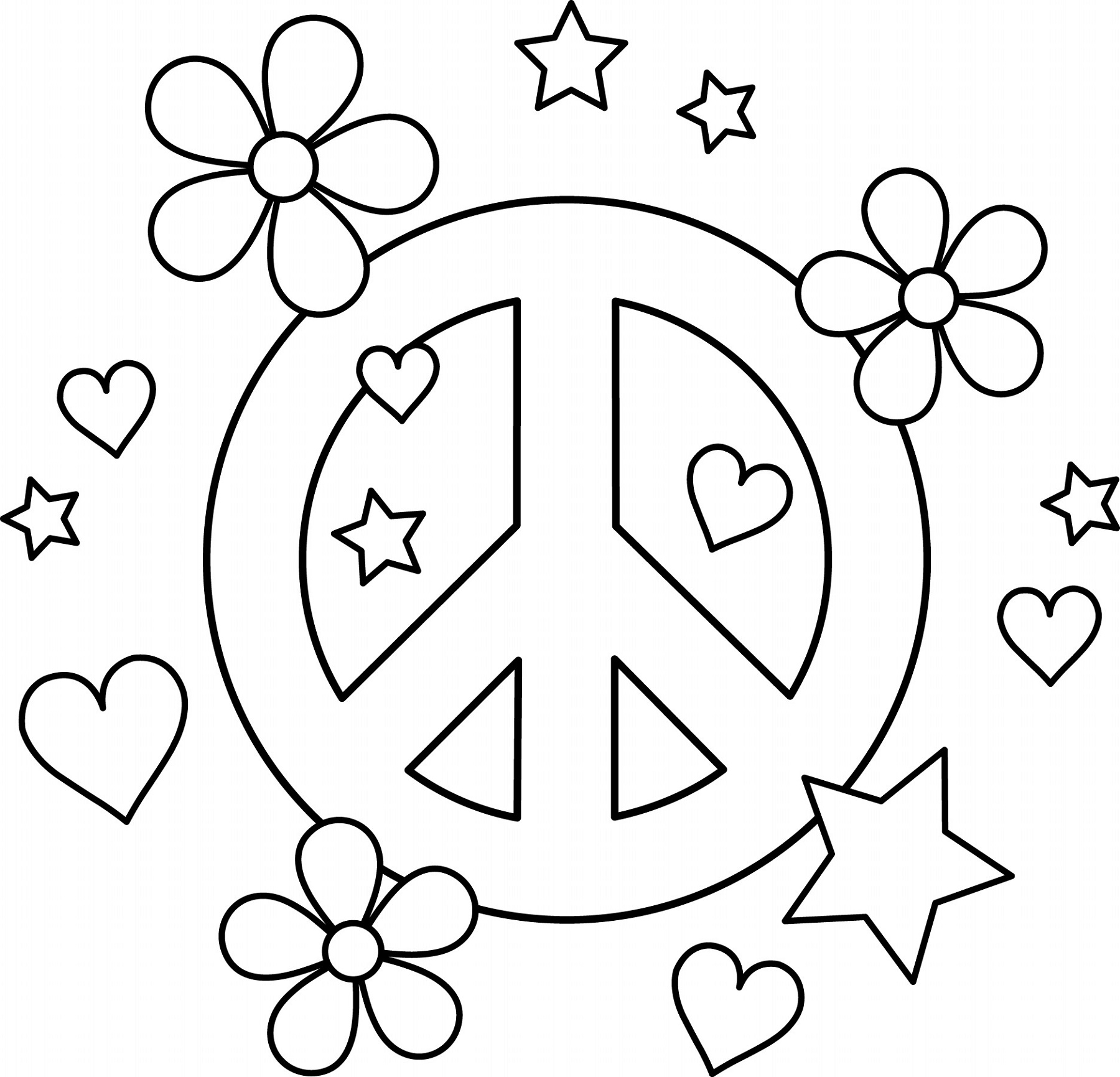 Peace Sign Coloring Pages Design