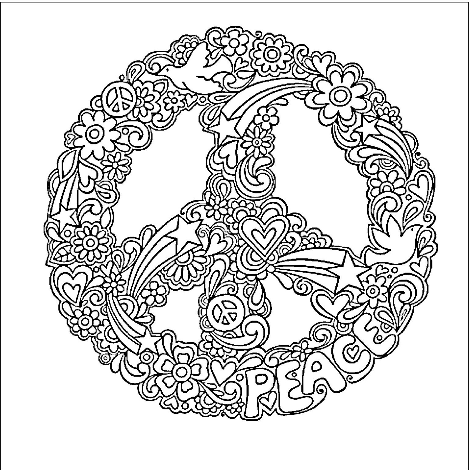 Peace Sign Coloring Pages For Adults