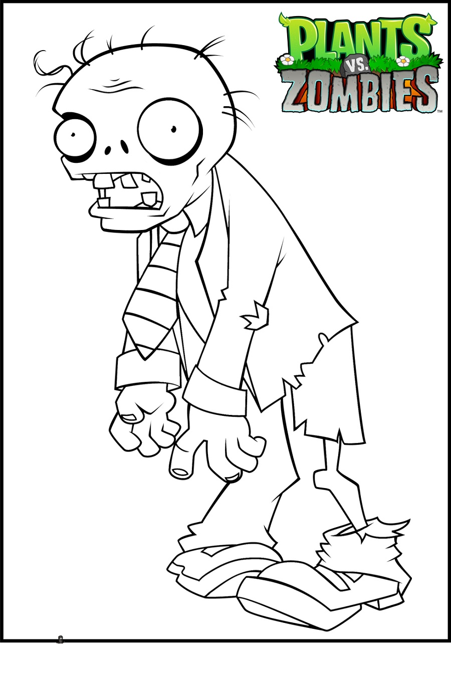 Plants Vs Zombies Coloring Pages Suit Zombie