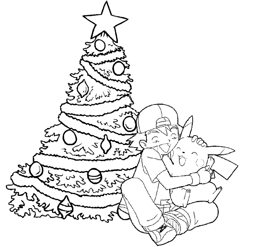Pokemon Christmas Coloring Pages Pikachu And Ashley