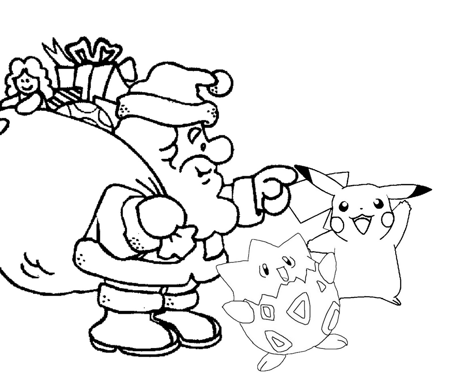 Pokemon Christmas Coloring Pages Santa Claus