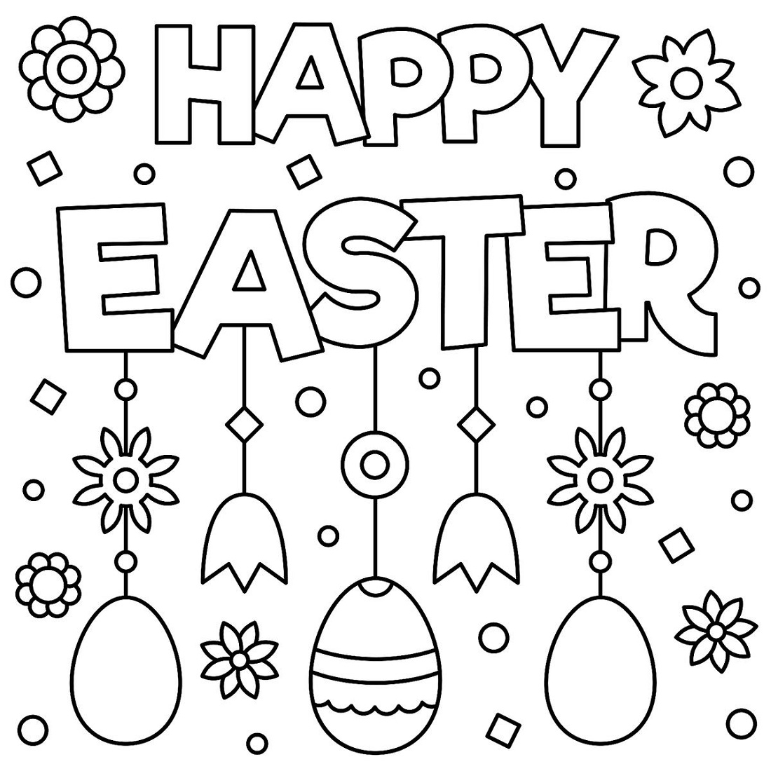 Printable Easter Coloring Pages Happy Easter