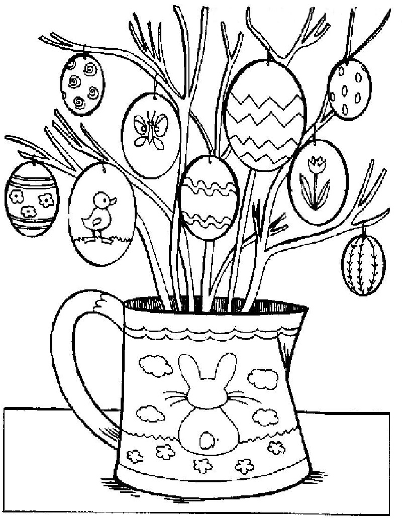 Printable Easter Coloring Pages Plant