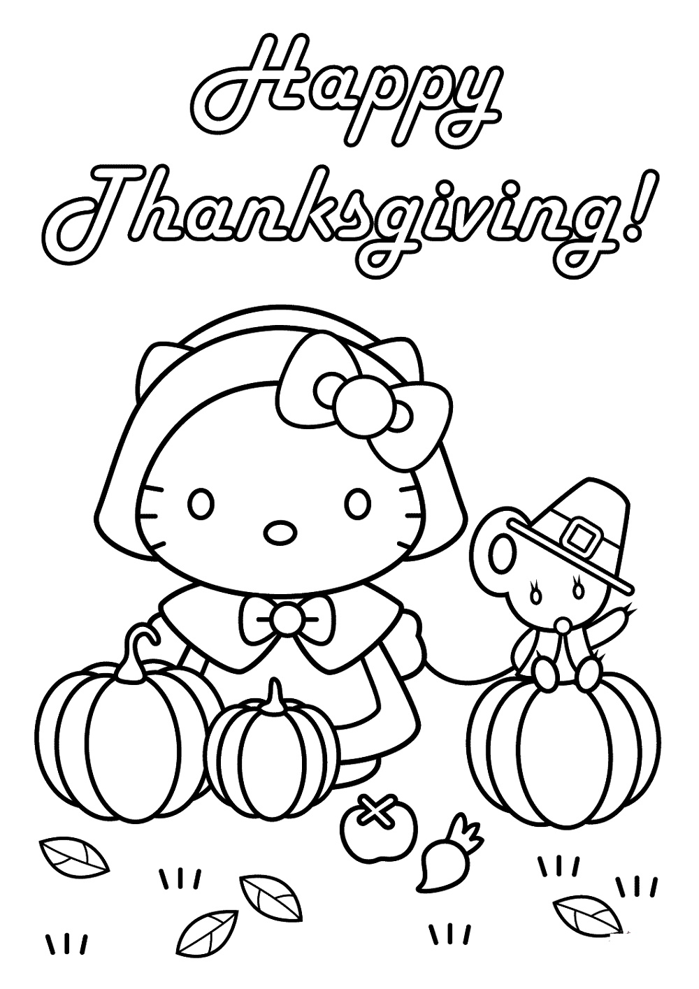 Printable Thanksgiving Coloring Pages Hello Kitty