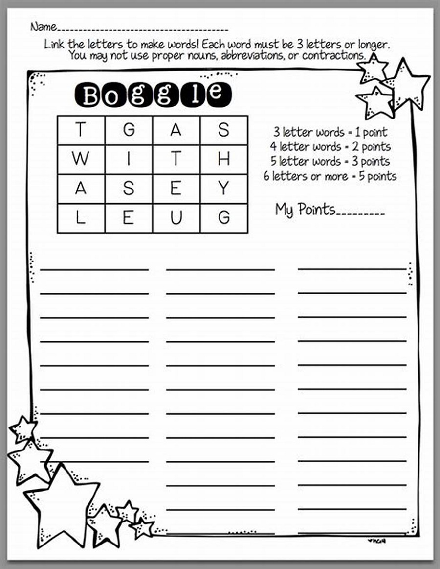 Printable Word Games For Kids Boggle Word