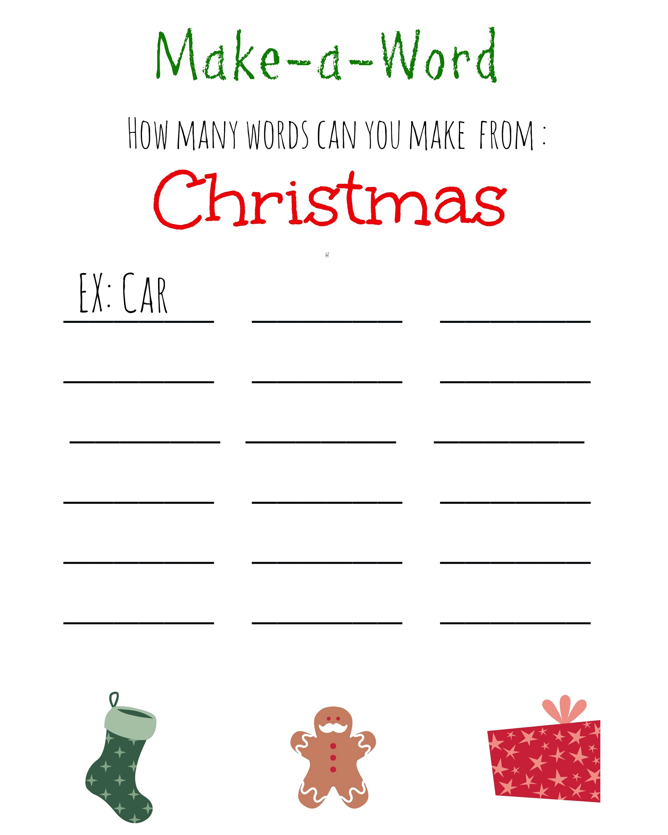Printable Word Games For Kids Christmas