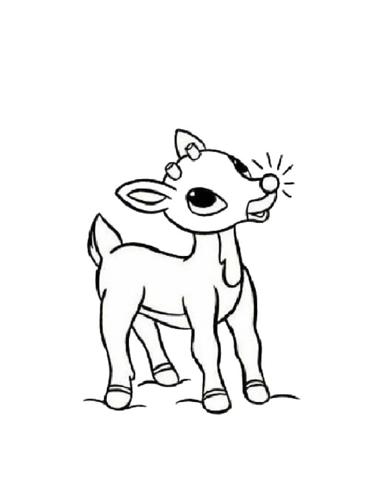 Rudolph Coloring Pages Red Reindeer