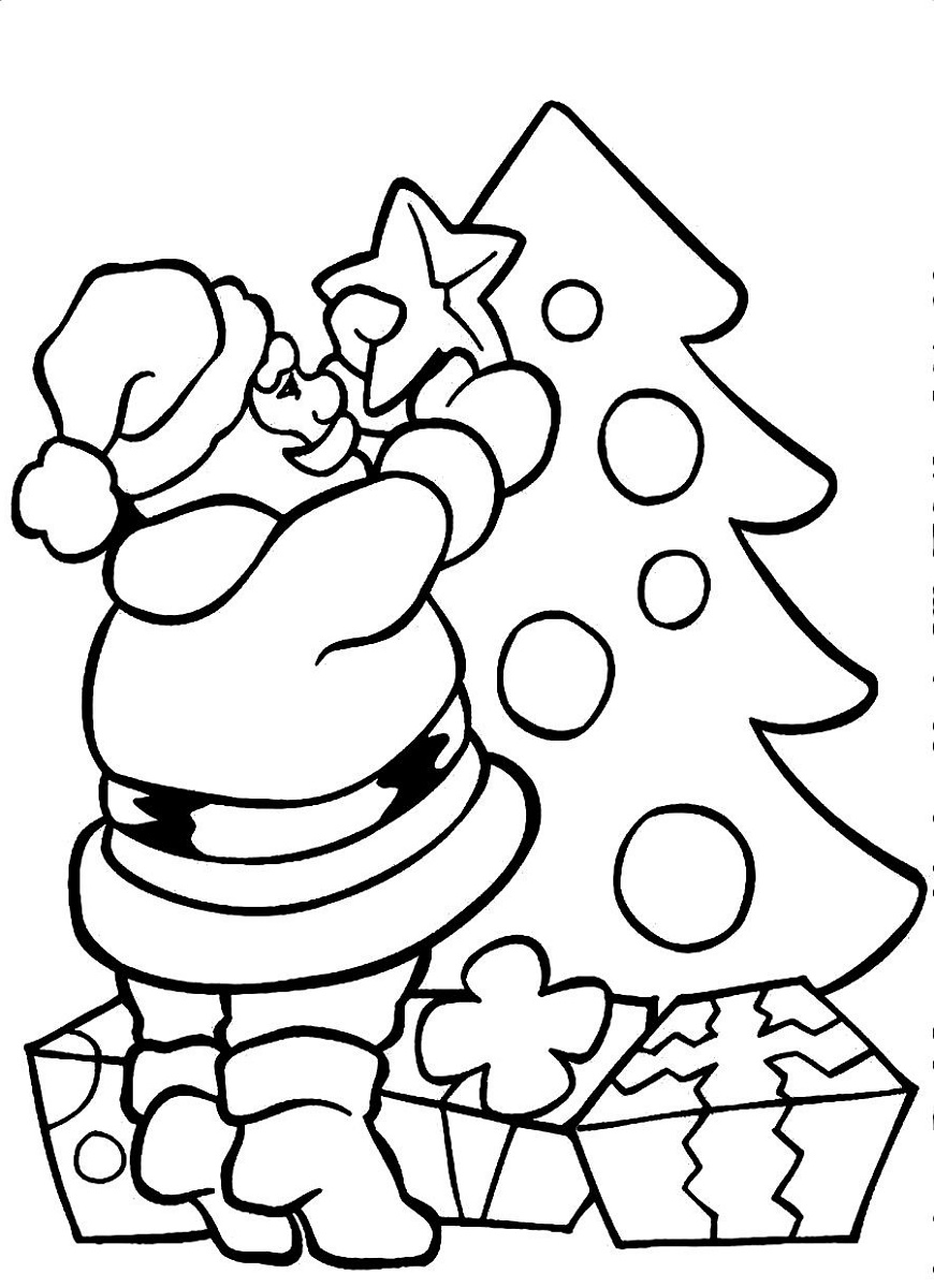 Santa Claus Coloring Pages Christmas Tree