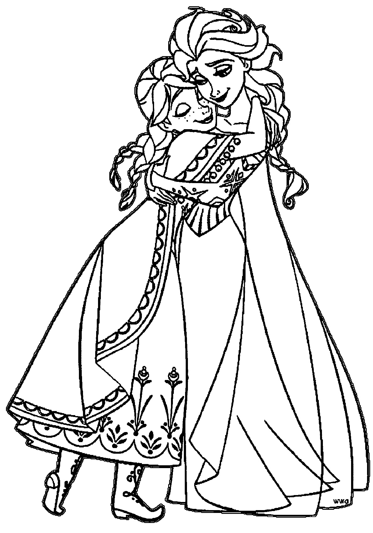 Sister Elsa And Anna Coloring Pages