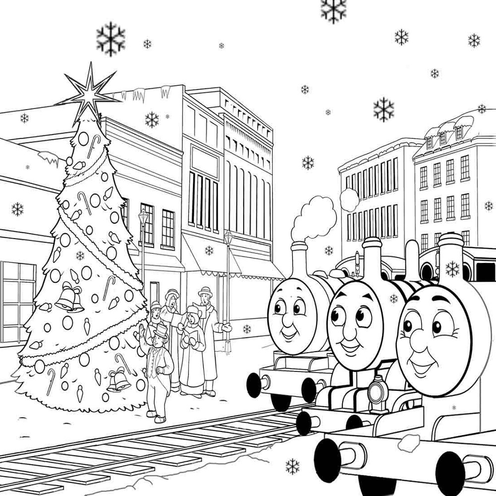 Thomas Coloring Pages Christmas