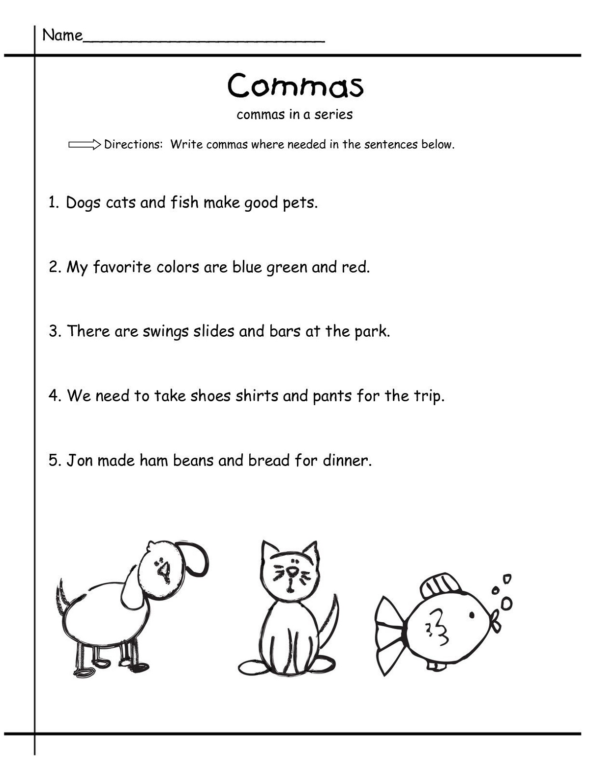 Worksheets For Grade 1 Grammar