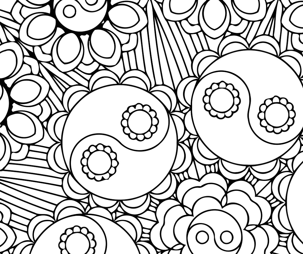 Yin Yang Coloring Pages Flower