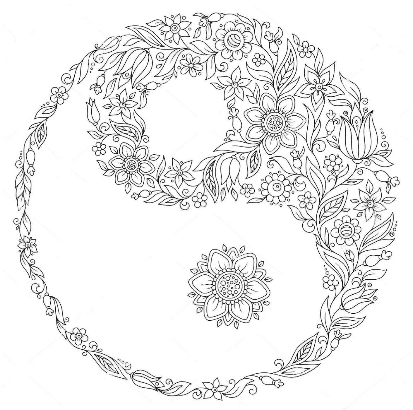 Yin Yang Coloring Pages Zentangle