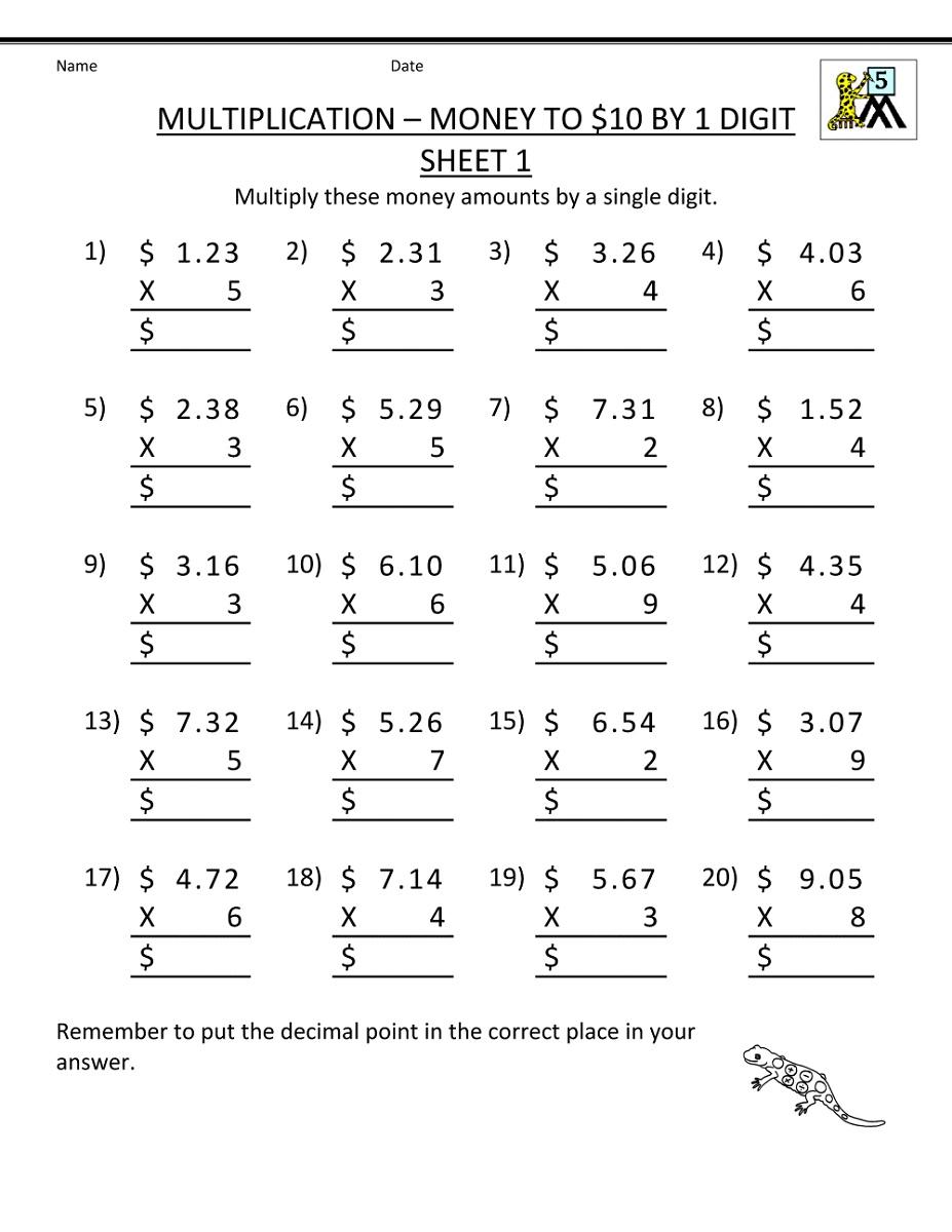 5th Grade Math Worksheets Printable Money