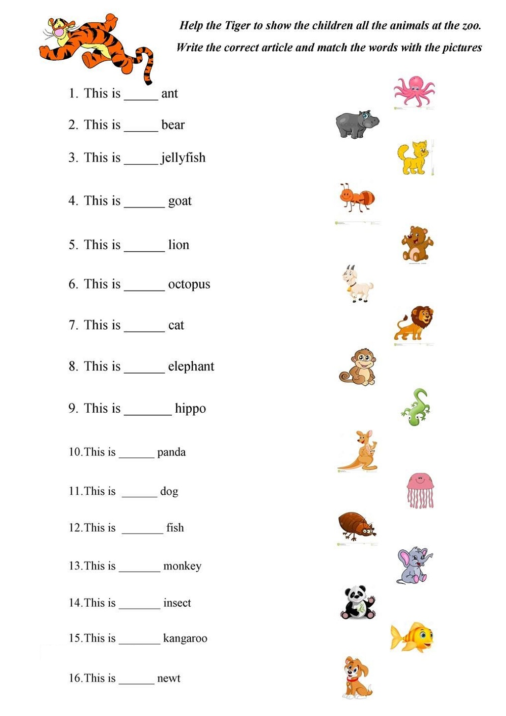 A And An Worksheets Free Printable Animals