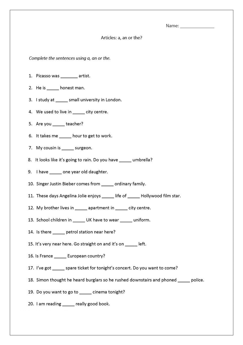 A And An Worksheets Free Printable Articles