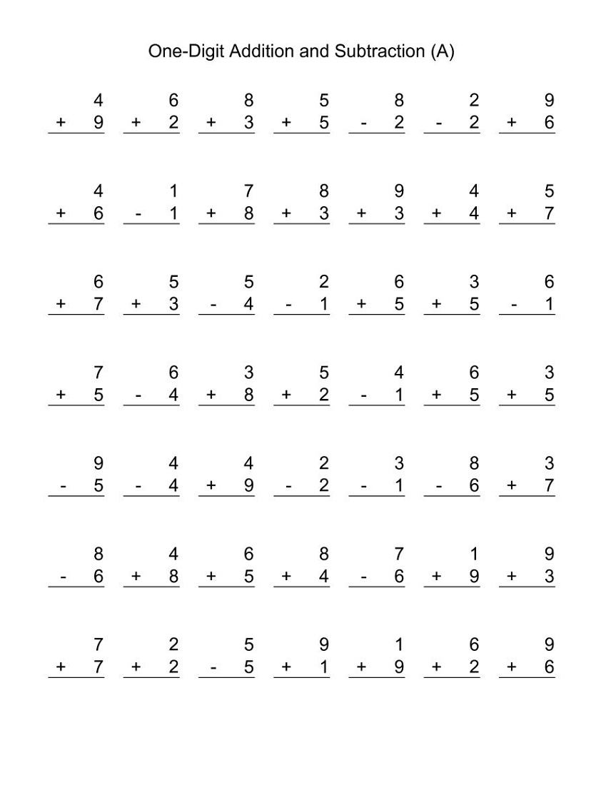 Addition And Subtraction Worksheets One Digit