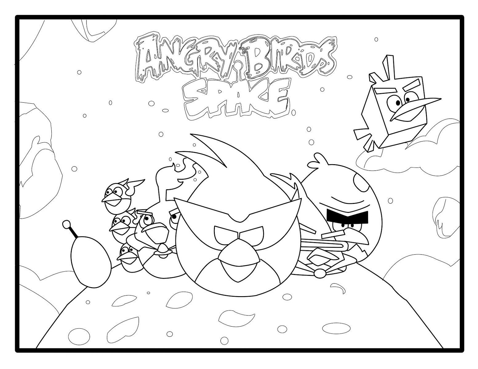 Angry Birds Coloring Pages Space