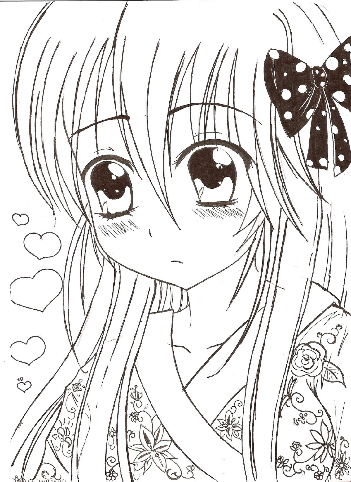 Anime Girl Coloring Pages Kawaii