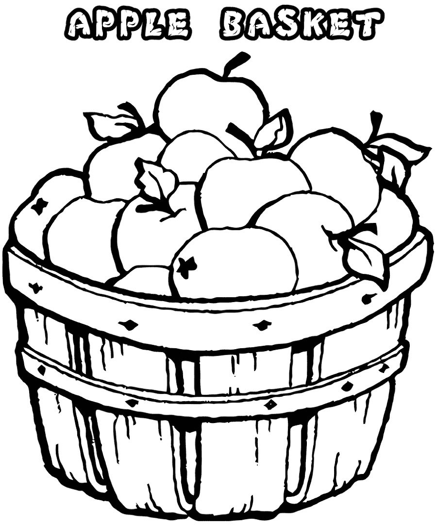 Apple Coloring Pages Basket