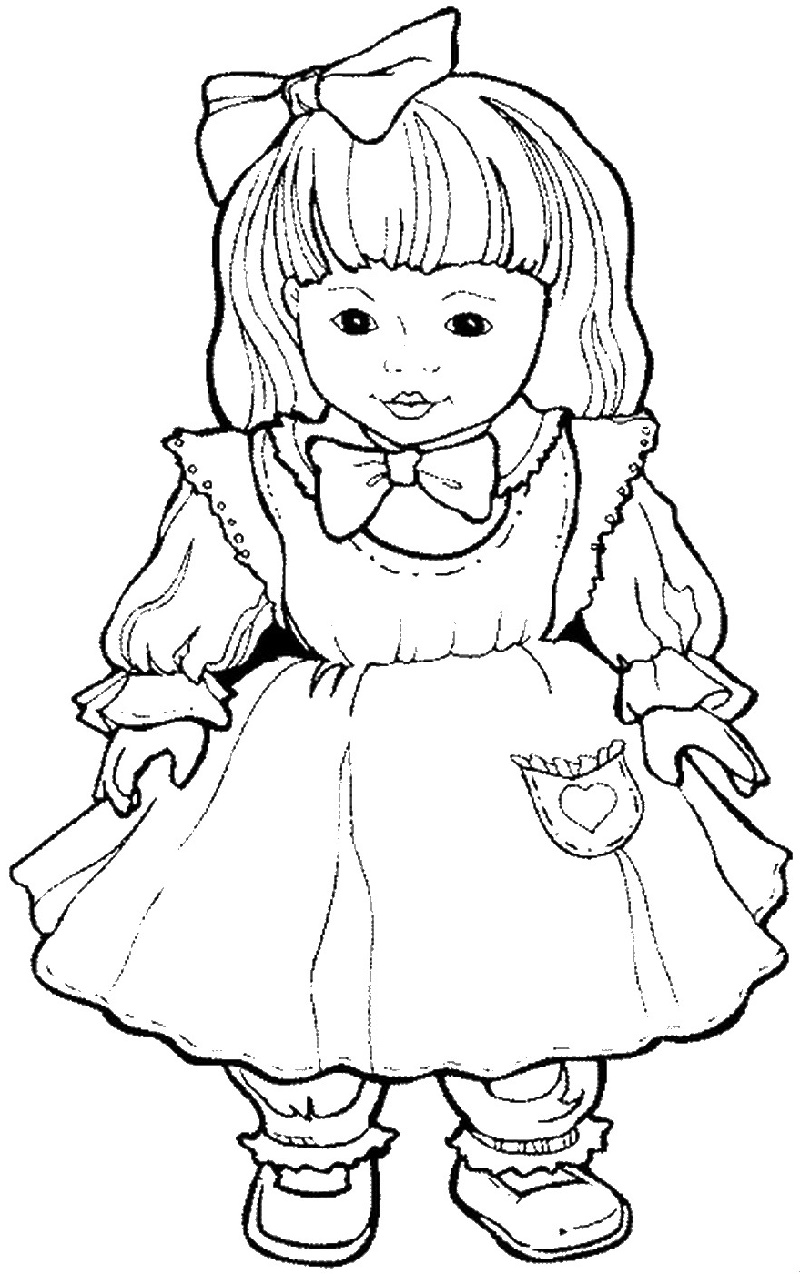 Baby Doll Coloring Page Cute