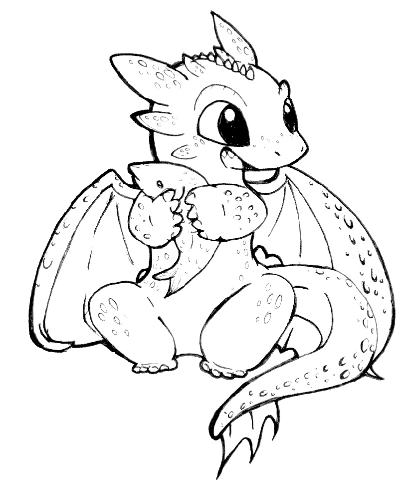 Baby Dragon Coloring Pages For Kids