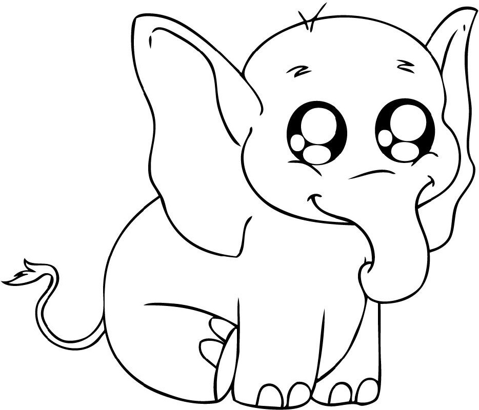 Baby Elephant Coloring Pages Cute