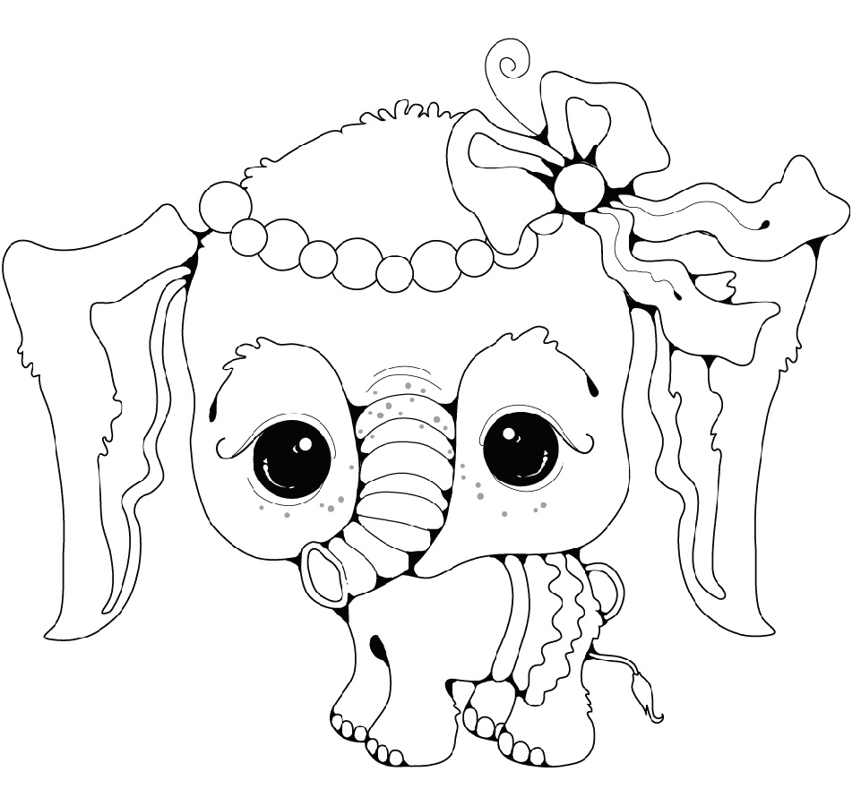 Baby Elephant Coloring Pages Girl
